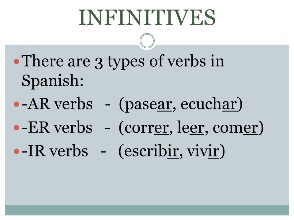 INFINITIVES There are 3 types of verbs in Spanish: