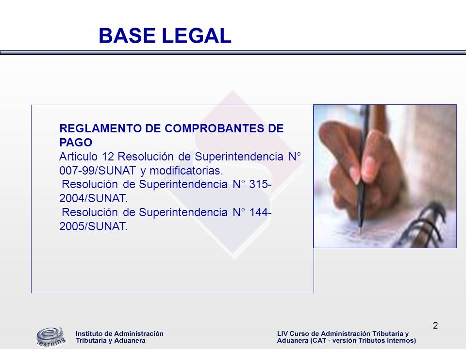 BASE LEGAL REGLAMENTO DE COMPROBANTES DE PAGO
