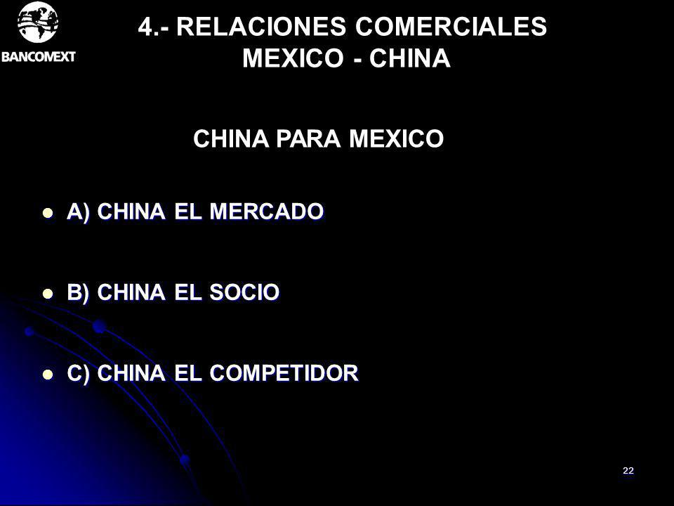 4.- RELACIONES COMERCIALES MEXICO - CHINA