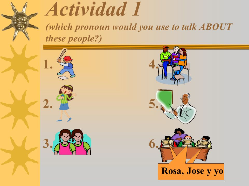 Actividad 1 (which pronoun would you use to talk ABOUT these people )