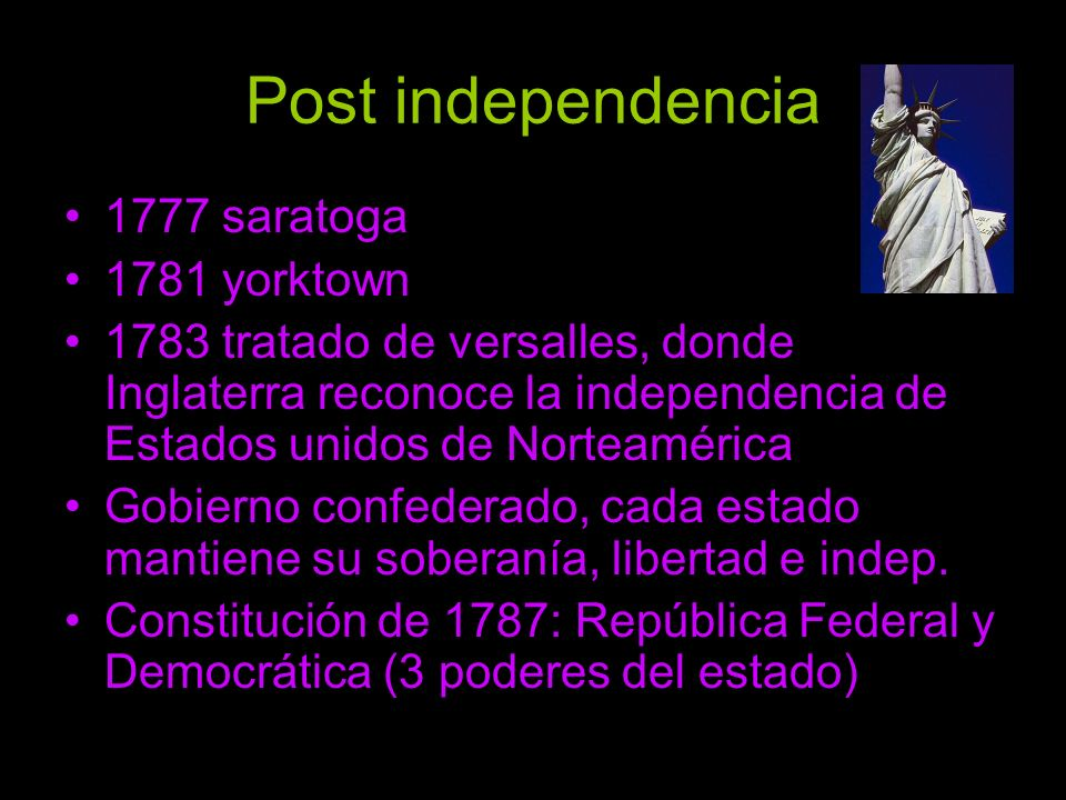 Post independencia 1777 saratoga 1781 yorktown