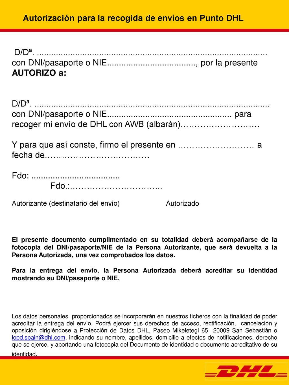 Autorizacion para la recogida de documentos