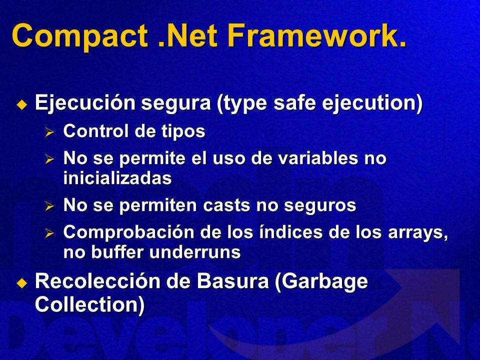Compact .Net Framework. Ejecución segura (type safe ejecution)