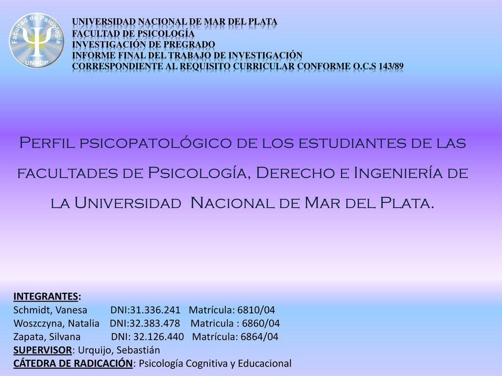 Universidad Nacional de Mar del Plata. Facultad de Psicología - ppt ...