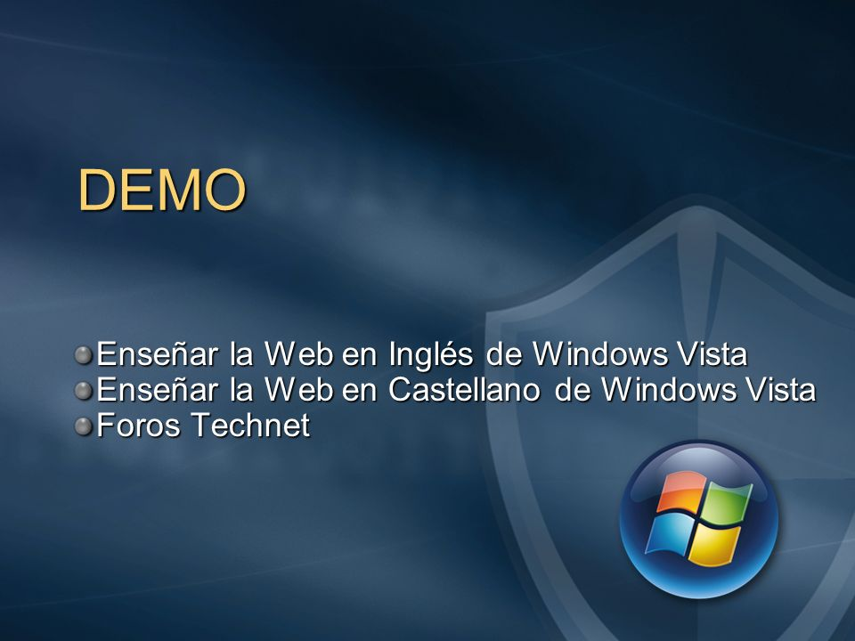 DEMO Enseñar la Web en Inglés de Windows Vista