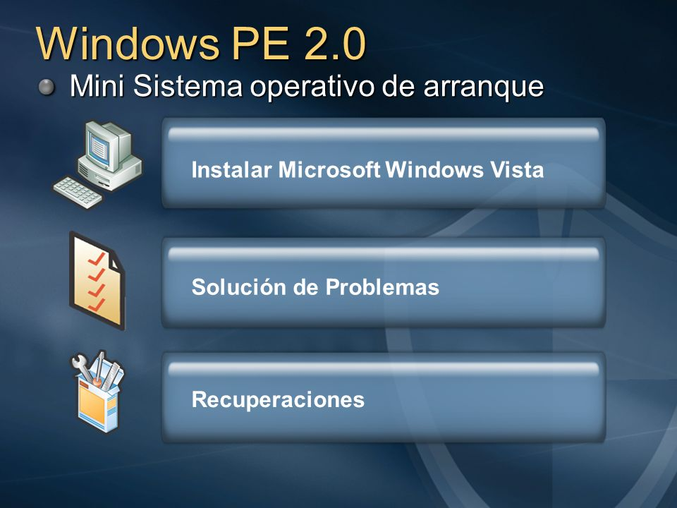 Windows PE 2.0 Mini Sistema operativo de arranque