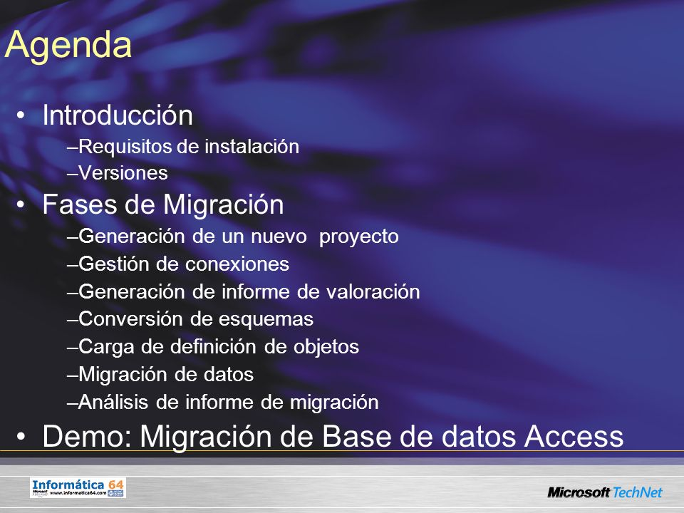 Agenda Demo: Migración de Base de datos Access Introducción
