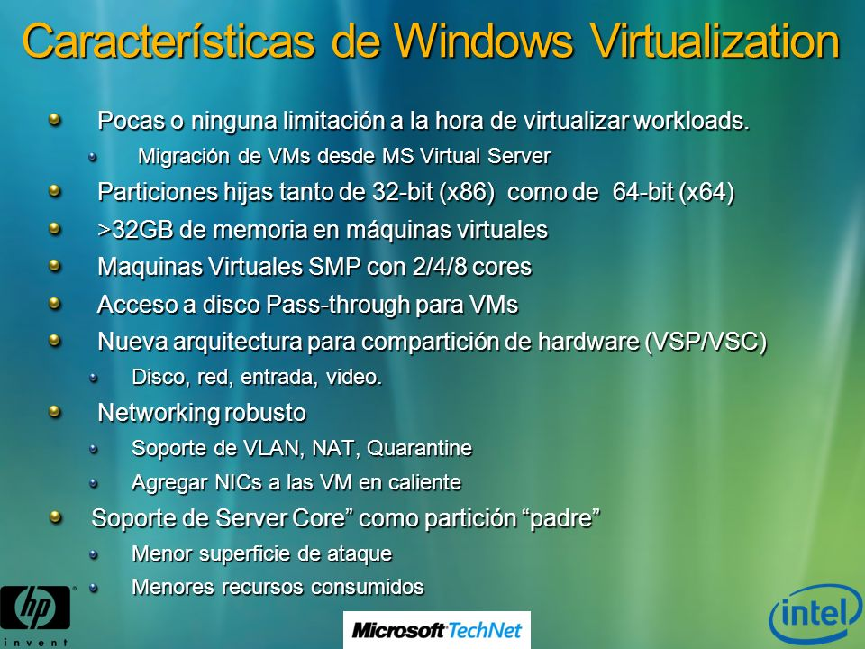 Características de Windows Virtualization