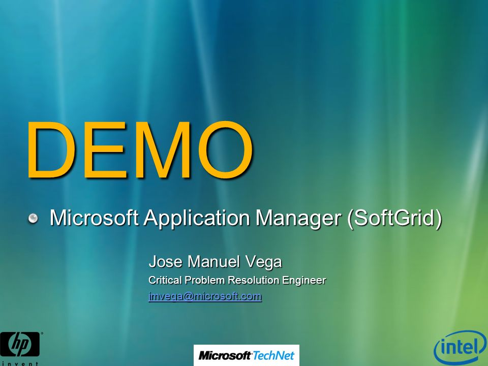 DEMO Microsoft Application Manager (SoftGrid) Jose Manuel Vega