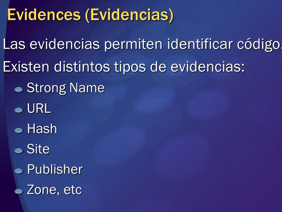 Evidences (Evidencias)