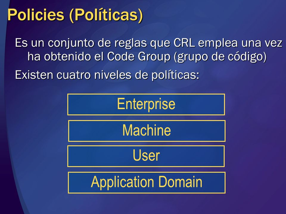 Policies (Políticas) Enterprise Machine User Application Domain