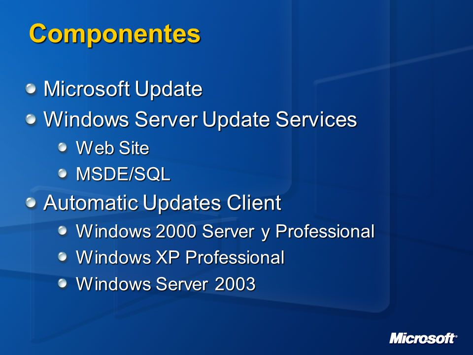 Componentes Microsoft Update Windows Server Update Services