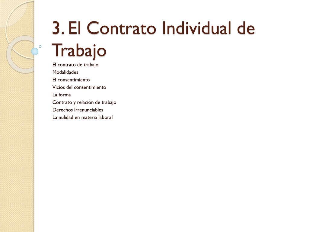3 El Contrato Individual De Trabajo Ppt Descargar