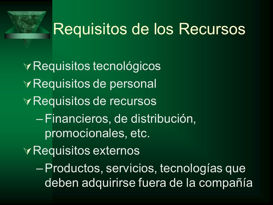 Requisitos de los Recursos