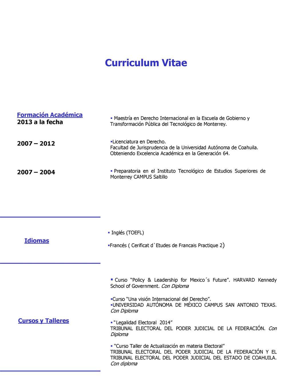 Curriculum Vitae Formacion Academica 2013 A La Fecha 2007 Ppt