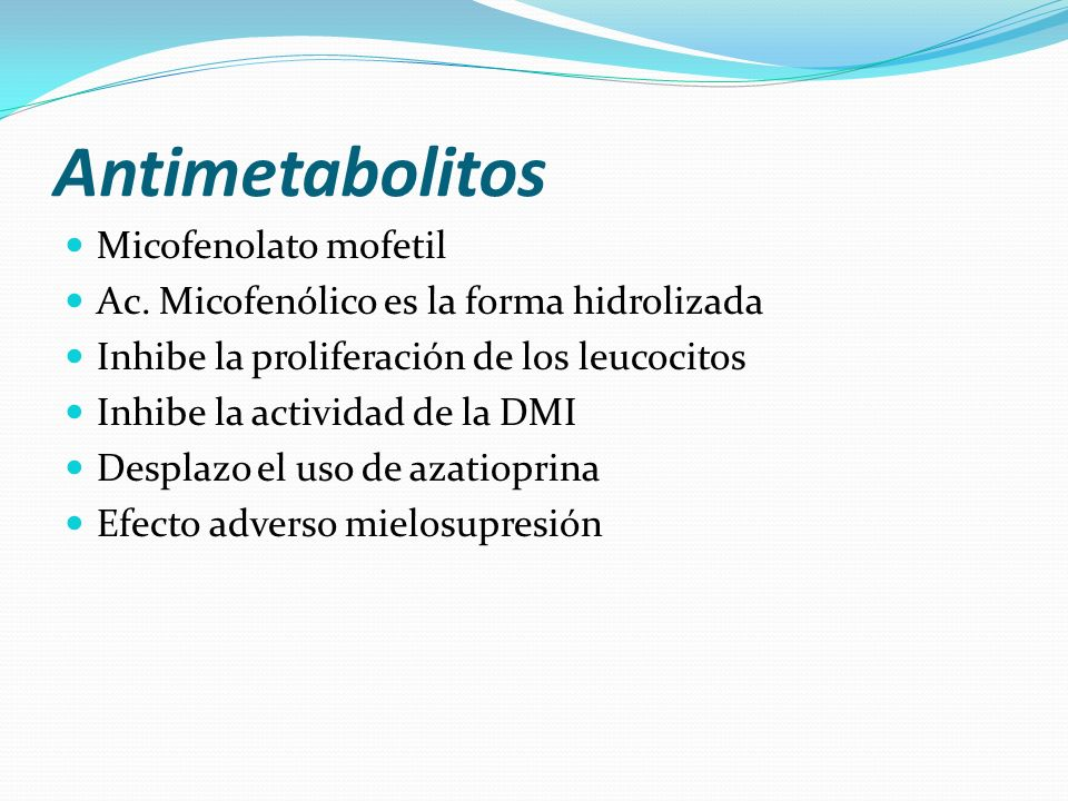 Antimetabolitos Micofenolato mofetil