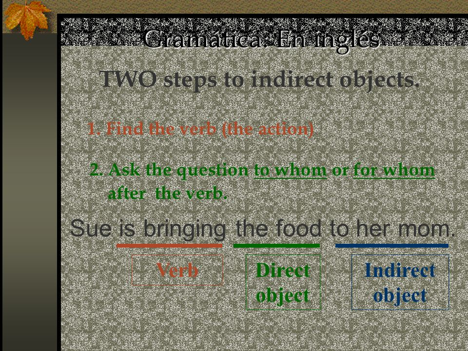 TWO steps to indirect objects.