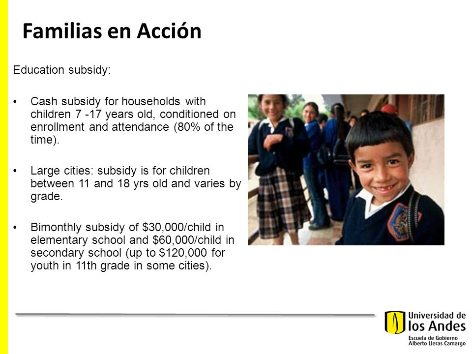 Familias en Acción Education subsidy: