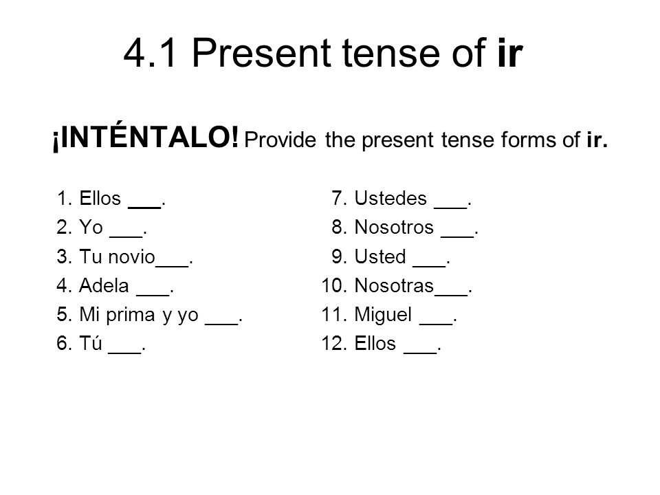 ¡INTÉNTALO! Provide the present tense forms of ir.