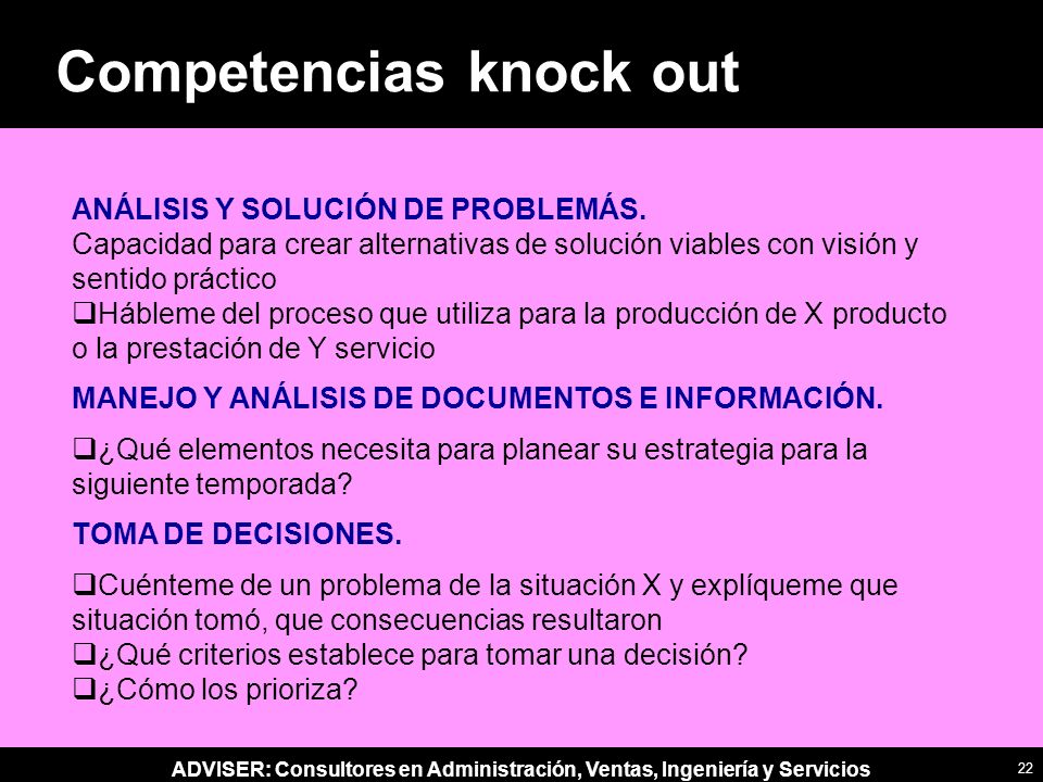 Competencias knock out