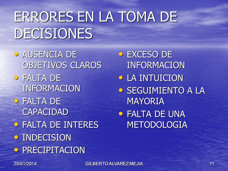 ERRORES EN LA TOMA DE DECISIONES