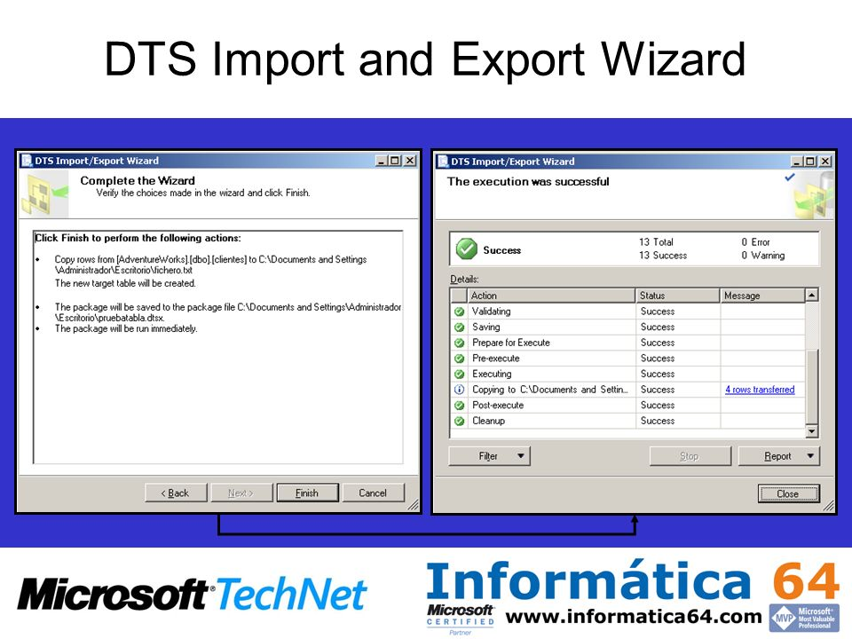DTS Import and Export Wizard