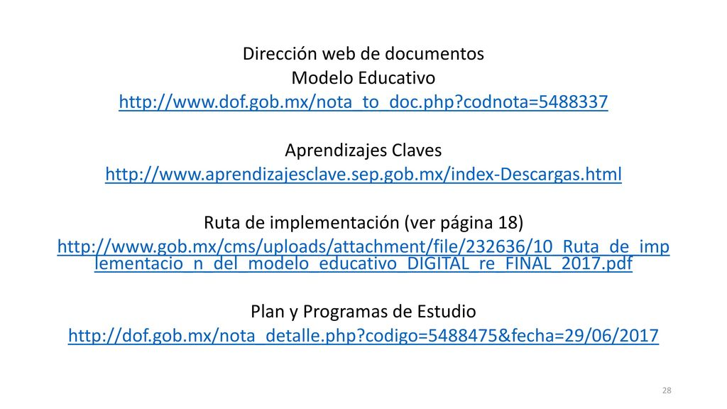 Dirección web de documentos Modelo Educativo   dof. gob