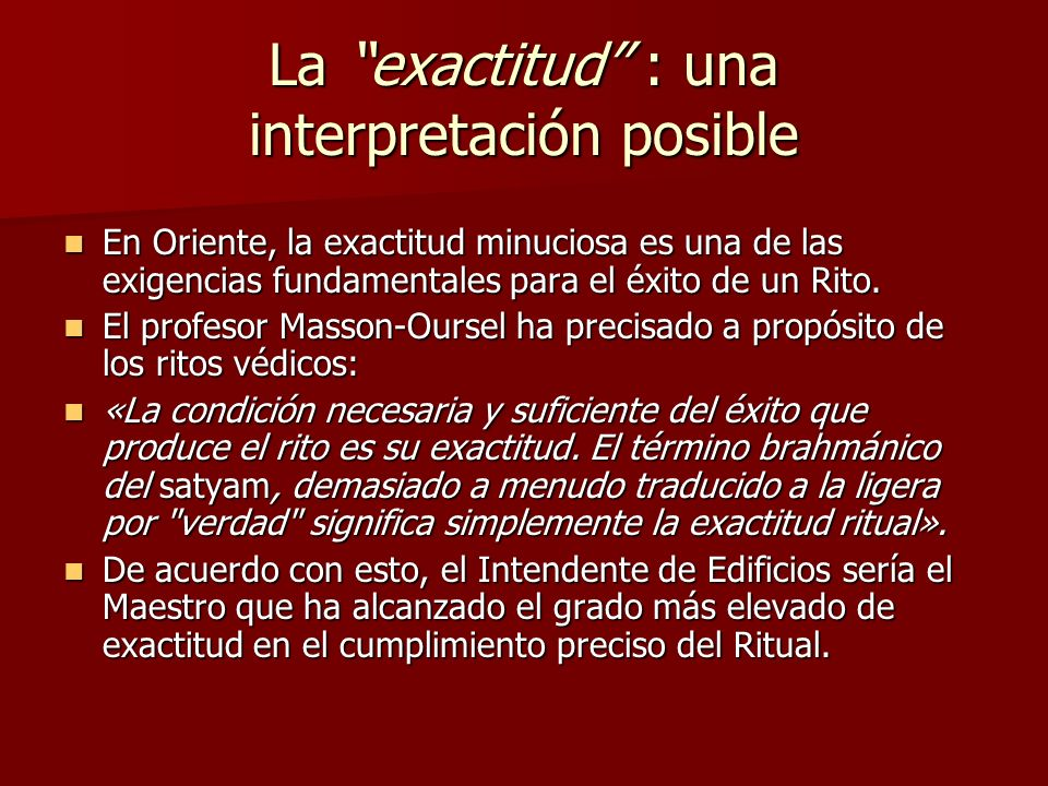 La exactitud : una interpretación posible