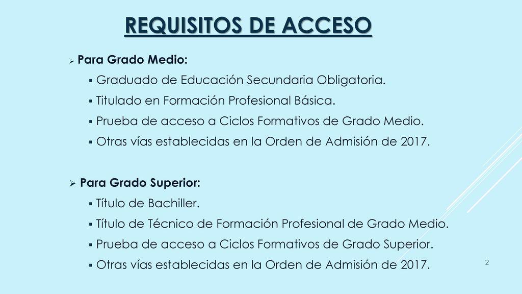 Admisión Formación Profesional 2017 2018 Ciclos Formativos