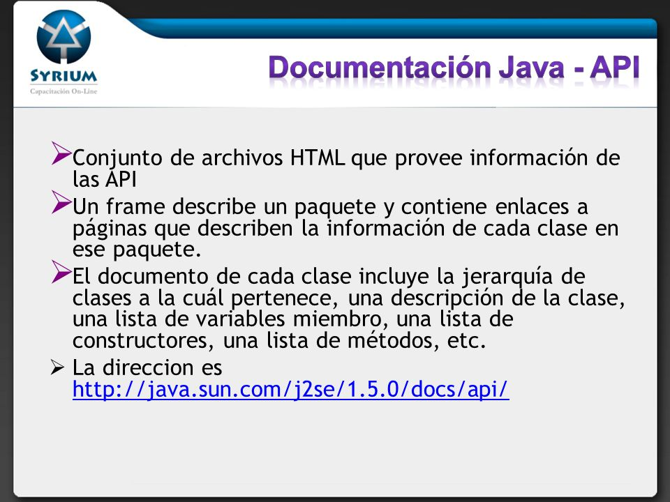 Documentación Java - API