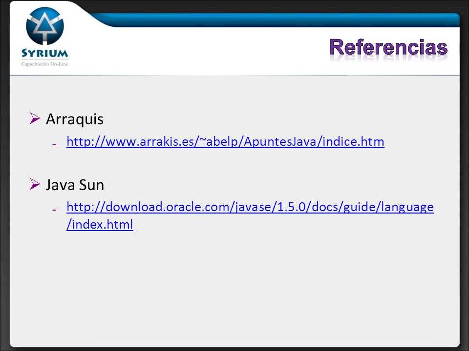 Referencias Arraquis Java Sun