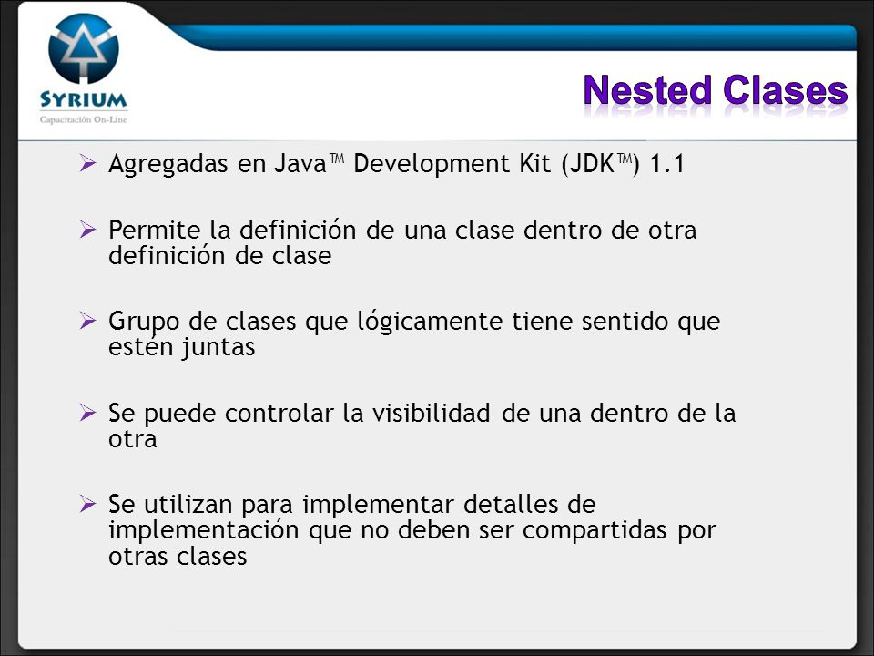 Nested Clases Agregadas en Java™ Development Kit (JDK™) 1.1