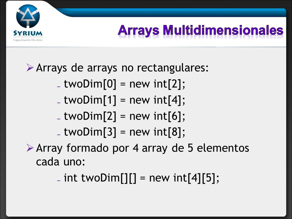 Arrays Multidimensionales