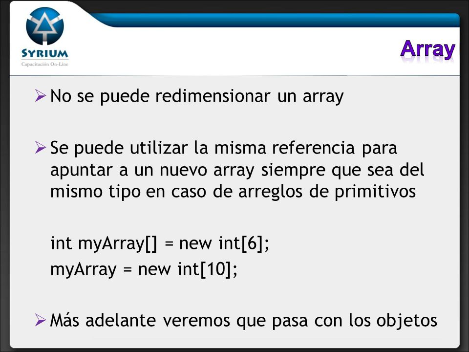 Array No se puede redimensionar un array
