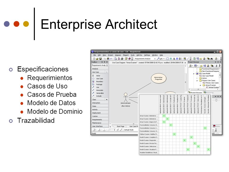Enterprise Architect Especificaciones Trazabilidad Requerimientos