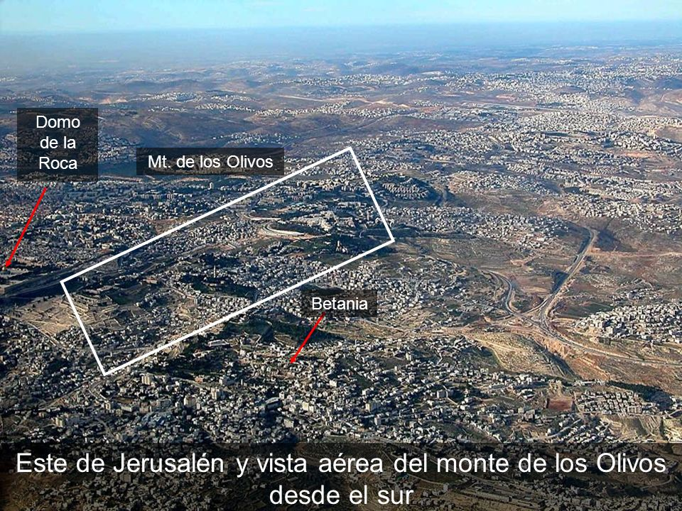 East Jerusalem and Mt of Olives aerial from s