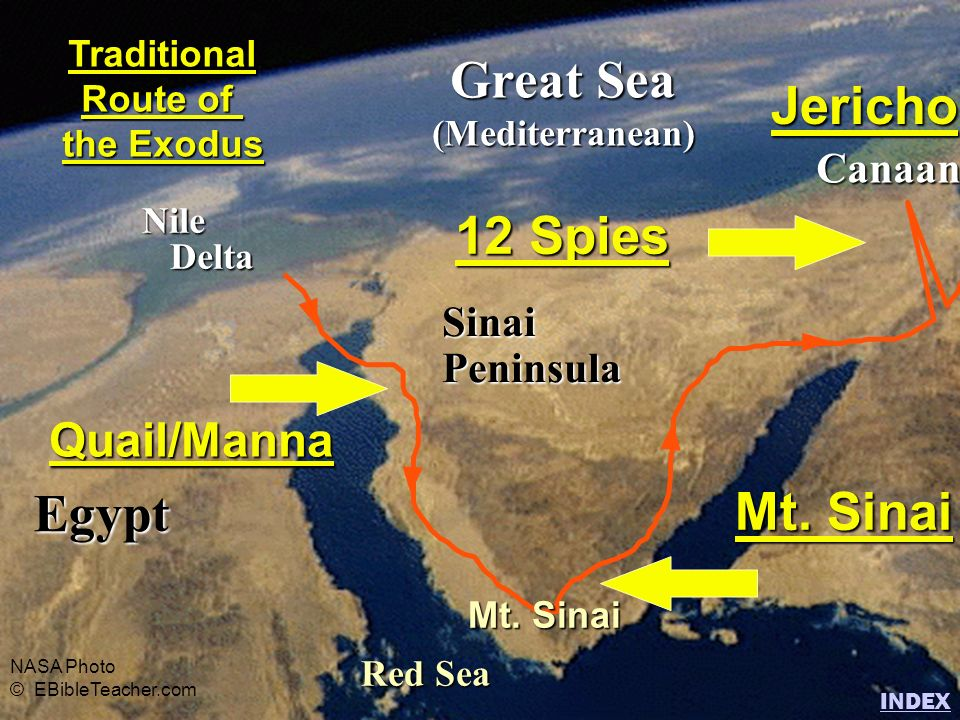 Great Sea Jericho 12 Spies Egypt Mt. Sinai Quail/Manna Canaan Sinai
