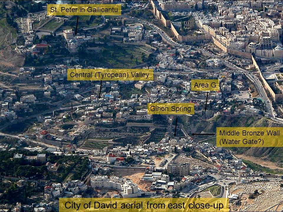 City of David aerial from east close-up