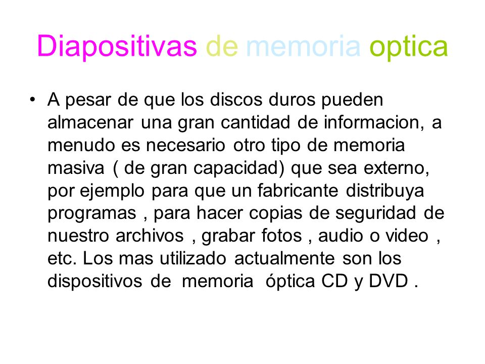 Diapositivas de memoria optica