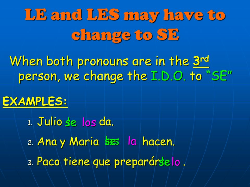 LE and LES may have to change to SE