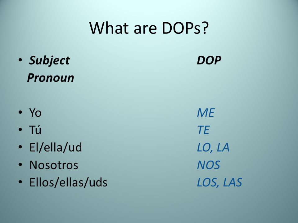 What are DOPs Subject DOP Pronoun Yo ME Tú TE El/ella/ud LO, LA