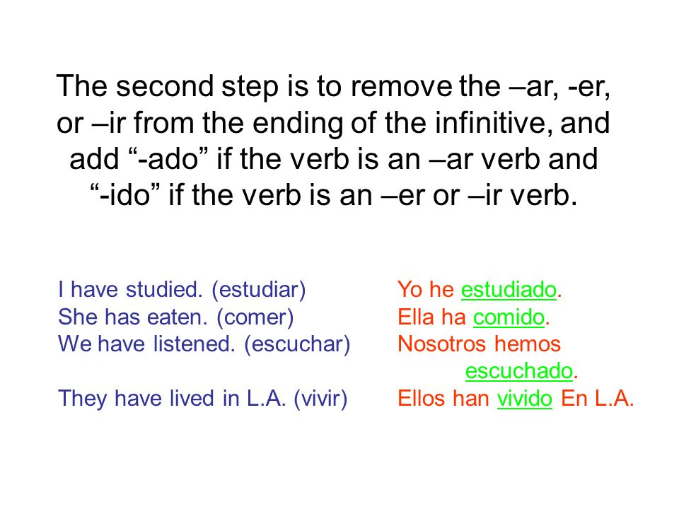 The second step is to remove the –ar, -er, or –ir from the ending of the infinitive, and add -ado if the verb is an –ar verb and -ido if the verb is an –er or –ir verb.