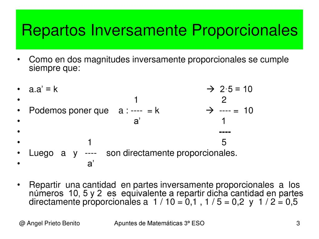 Proporcionalidad U D 3 4º Eso E Angel Prieto Benito Ppt Descargar