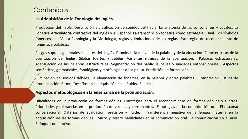 La Enseñanza de las formas débiles del Inglés. - ppt descargar
