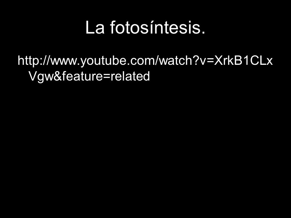 La fotosíntesis. http://www.youtube.com/watch v=XrkB1CLxVgw&feature=related