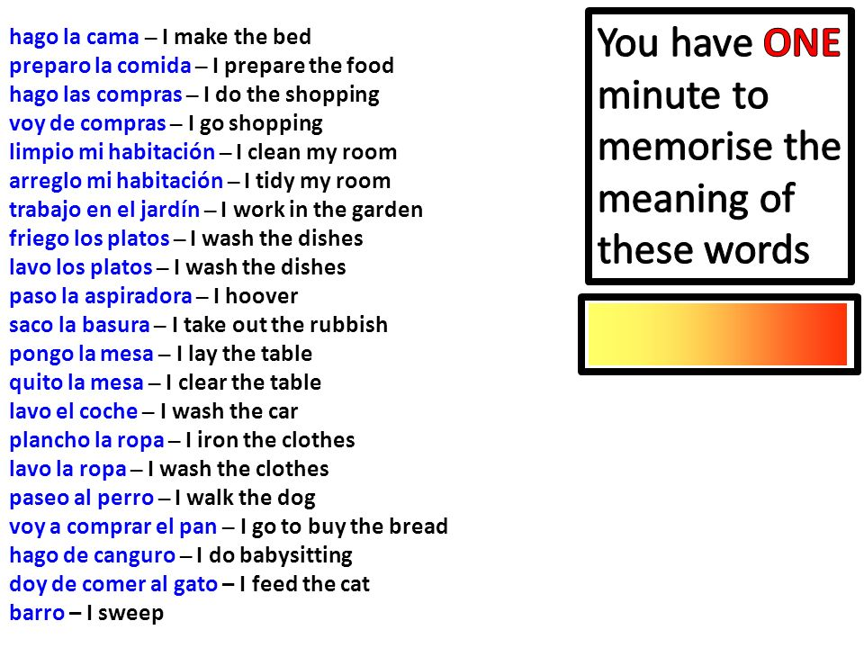 You have ONE minute to memorise the meaning of these words