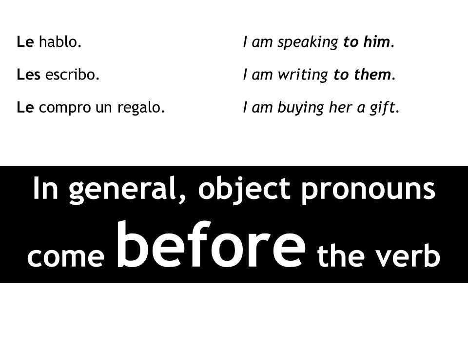 In general, object pronouns come before the verb
