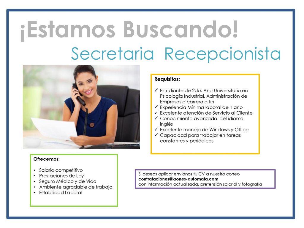 Secretaria Recepcionista - ppt descargar