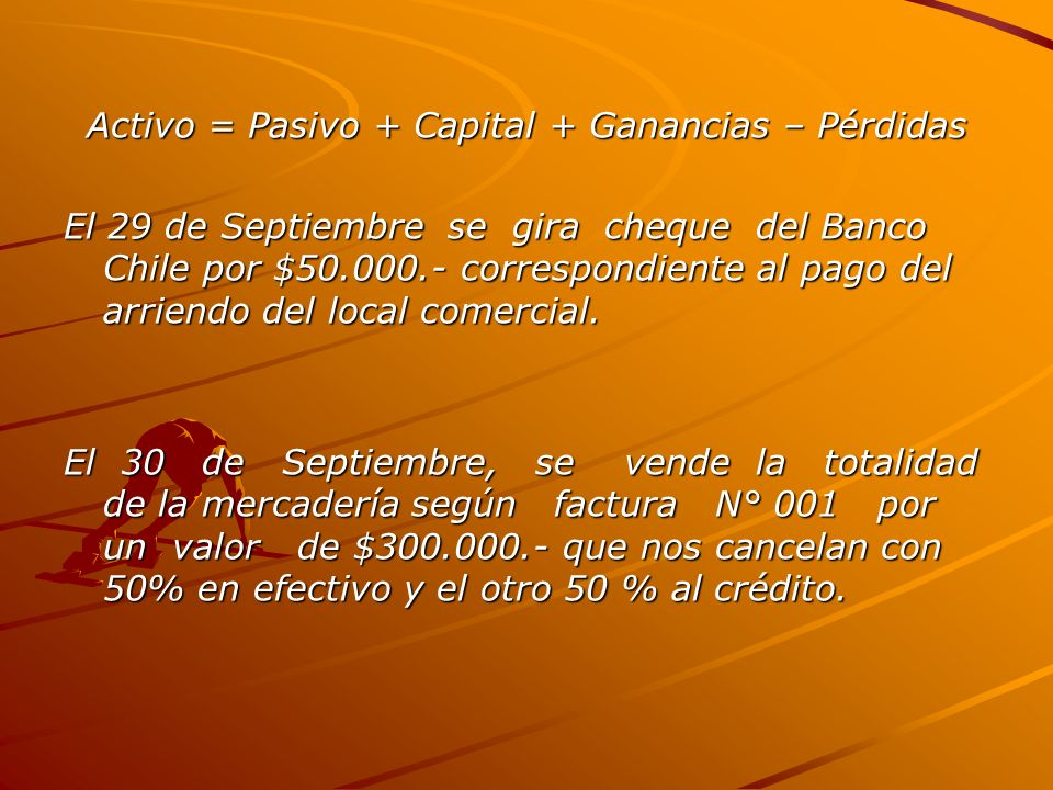 Activo = Pasivo + Capital + Ganancias – Pérdidas
