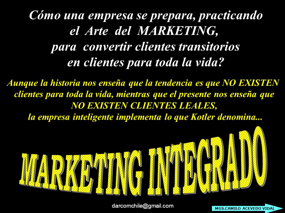 MARKETING INTEGRADO Cómo una empresa se prepara, practicando